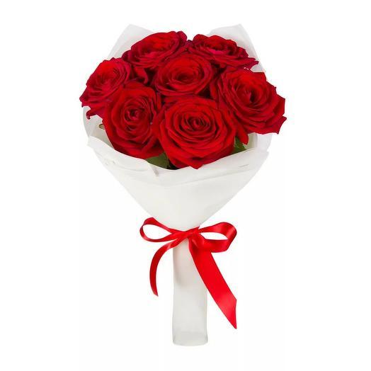 """Букет из 7 красных роз """"Кристина"""": букеты цветов на заказ Flowwow"""