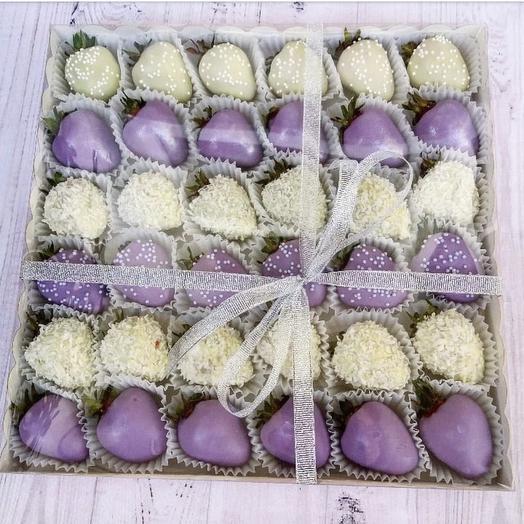 Бокс с клубникой в шоколаде 36шт: букеты цветов на заказ Flowwow