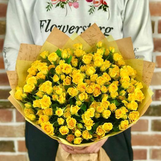 Букет из 25 веточек кустовых роз. N618