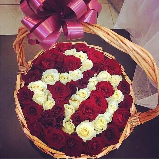 Розы цифрой  в корзине