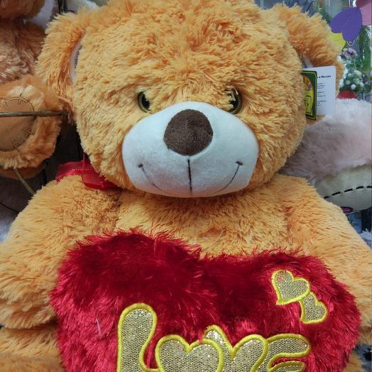 Медведь большой с сердцем: букеты цветов на заказ Flowwow