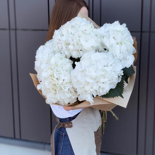 5 White Hydrangeas 80cm in craft paper