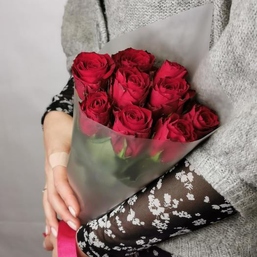 Роза 40 см красная 9