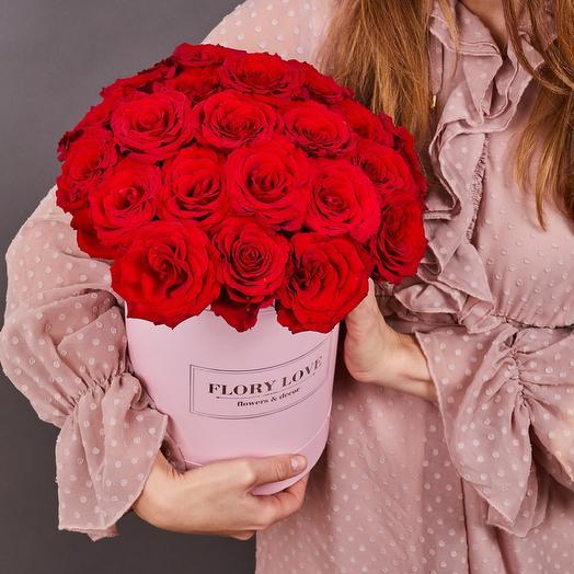 25 роз премиум в шляпной коробке