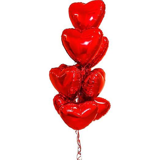 Облако из фольгированных сердец Red 7 шаров