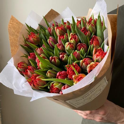 Тюльпаны пионовидные красные Red Princess (51 шт)