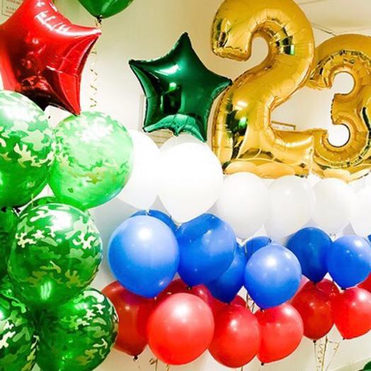 23 февраля Букет шаров 5звезды фольгированнве  5 латекс комуфляж ,  2 цыфры , 27 латексные