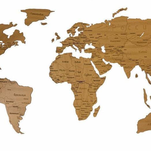 Деревянная карта мира 150х80 см Countries Rus с гравировкой стран и городов, дуб
