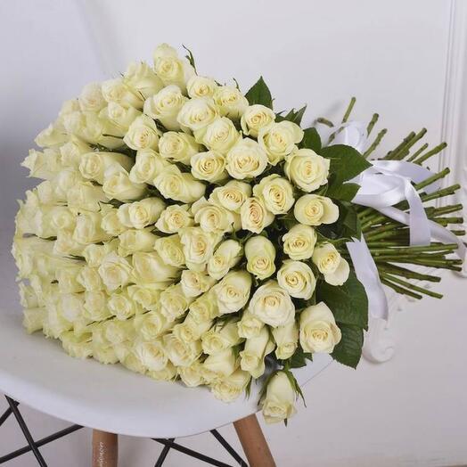 Монобукет 51 белая роза 60см
