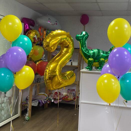 Набор «Радужный» 16 шаров и цифра