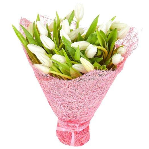 Букет из 25 тюльпанов Белые