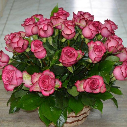 """Корзина с розами   """"Розовое облачко"""""""