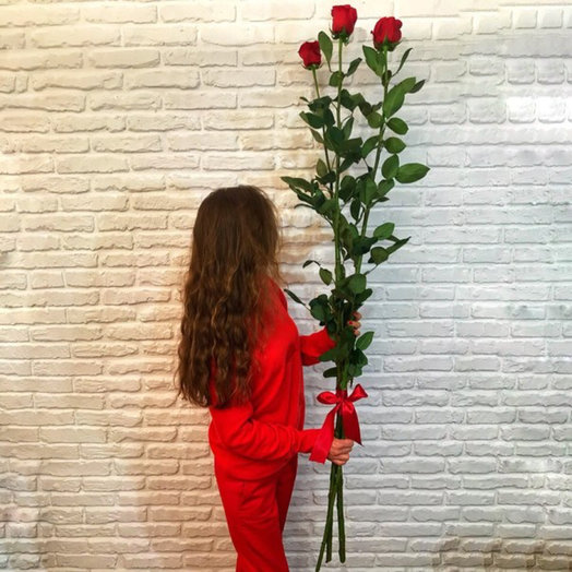 Розы-гиганты 140- 150 см, 3 шт: букеты цветов на заказ Flowwow