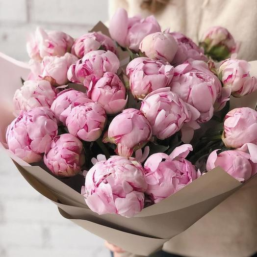 Букет из 29 нежно-розовых пионов: букеты цветов на заказ Flowwow