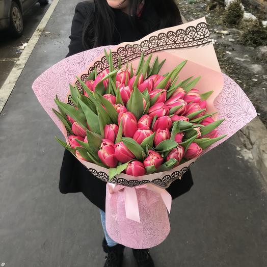 Пионовидные тюльпаны в букете: букеты цветов на заказ Flowwow