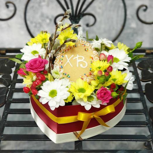 Композиция из хризантемы с вербой Праздничная: букеты цветов на заказ Flowwow
