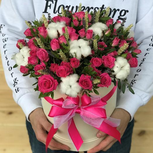 Коробки с цветами. Кустовые розы. Хлопок. Пшеница. N475