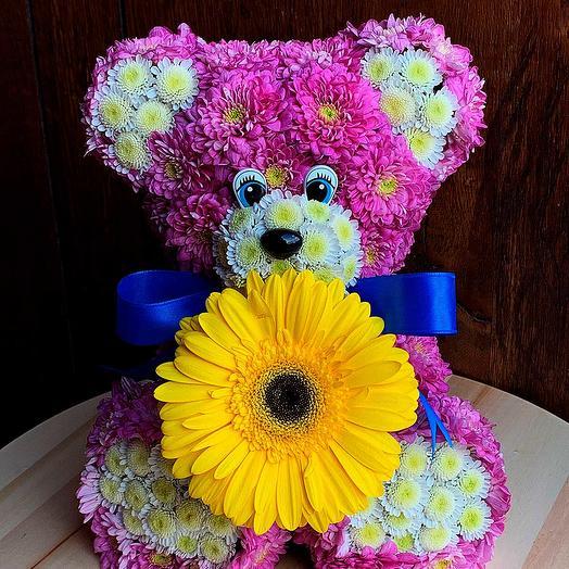 Игрушка из цветов Медведь: букеты цветов на заказ Flowwow