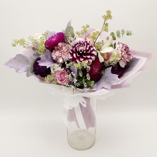 Букет с георгинами и астрами: букеты цветов на заказ Flowwow
