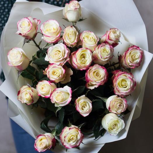 Букет белых роз с красной окантовкой Cabaret 25 шт