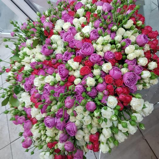 Микс пионовидная кустовая Роза 155штук: букеты цветов на заказ Flowwow