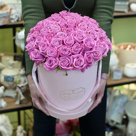Розы в шляпной коробке (45): букеты цветов на заказ Flowwow