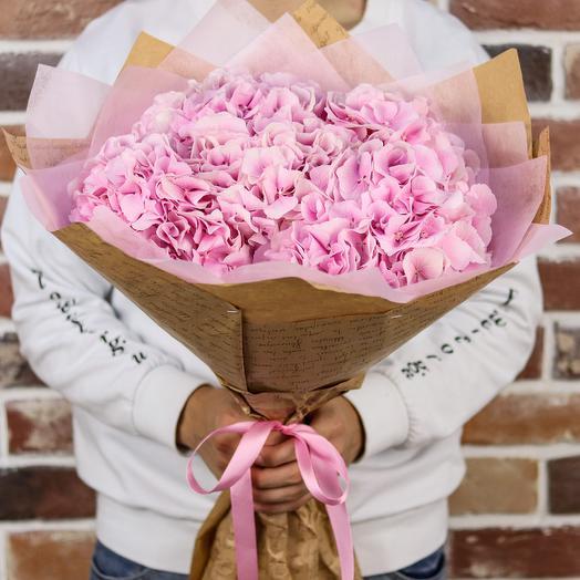 Букет из 5 розовых гортензий. N881