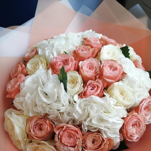 Гартензия + роза = 🥰 большой микс