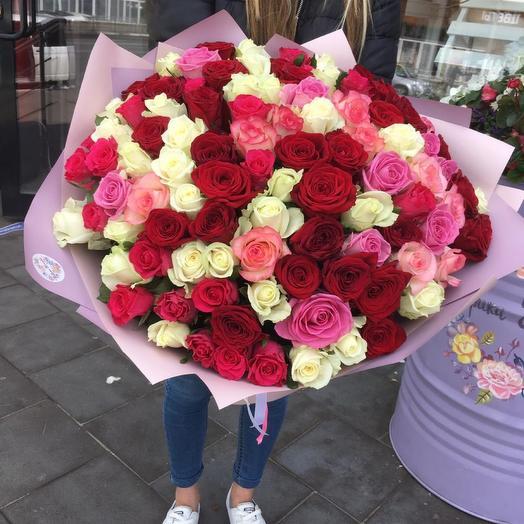 Микс из 101 розы 70 см