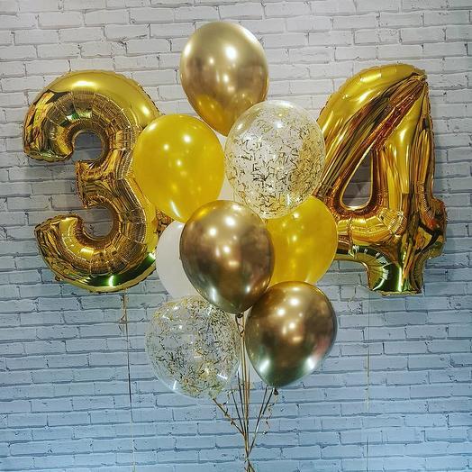 Гелиевые шары набор с двумя цифрами