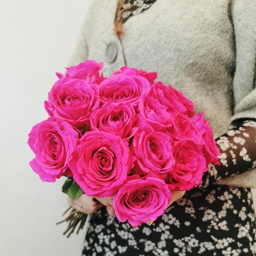 "Букет ""Гаме 15"" из роз цвета фуксия 40 см"