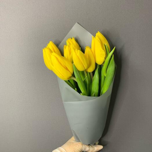 Жёлтые тюльпаны 9шт