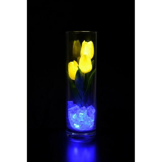 Светящиеся цветы тюльпаны 3шт Жёлтые(син)