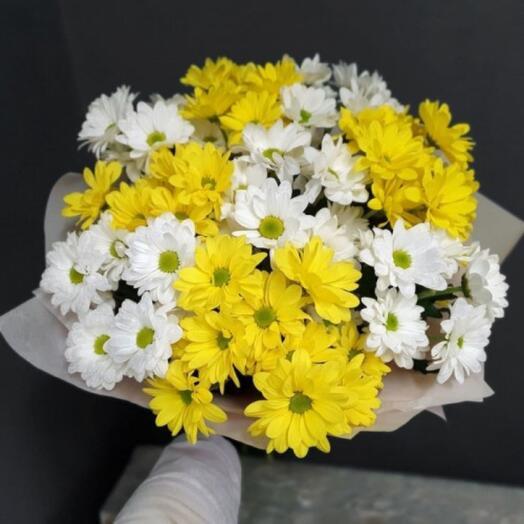 Солнечный букет 9 хризантем