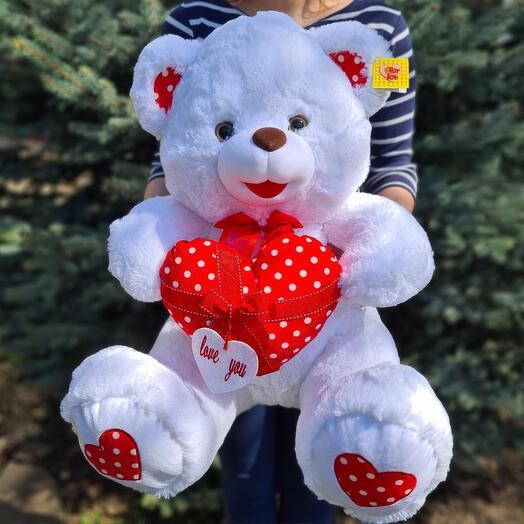 Flowers Lovers - мягкая игрушка мишка белый с сердцем