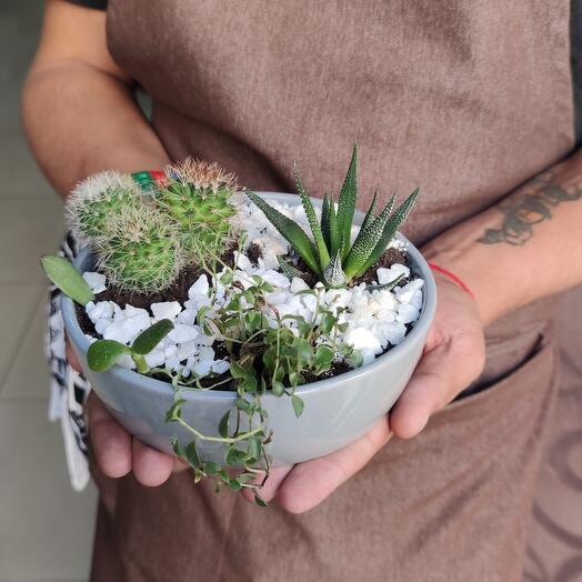 Композиция из живых цветов в керамике
