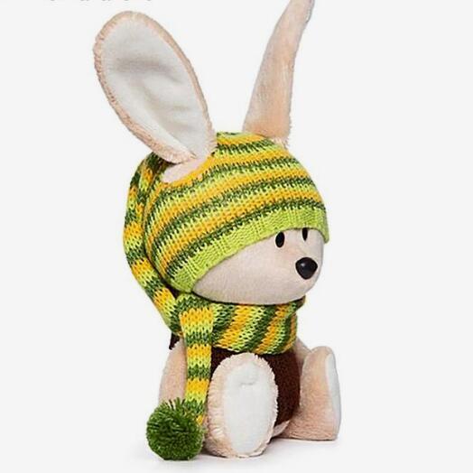 Мягкая игрушка «Заяц» в шапочке и свитере, 15 см