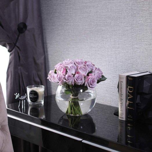 Букет из 25 роз Purple в вазе