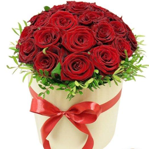 Коробка из 25 рорз: букеты цветов на заказ Flowwow