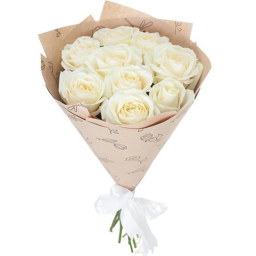 Букет белых роз «Пушинка»: букеты цветов на заказ Flowwow