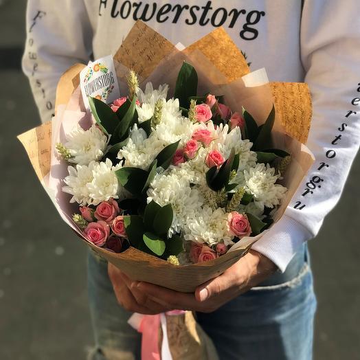 Букет хризантема, роза.  N291: букеты цветов на заказ Flowwow