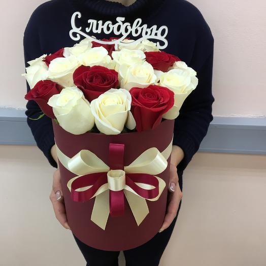 25 роз в шляпной коробке: букеты цветов на заказ Flowwow