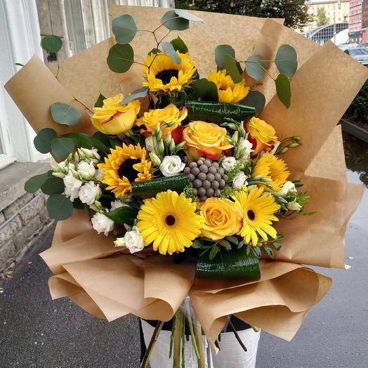 Жизнерадостный букет с подсолнухами 🌻️🤗: букеты цветов на заказ Flowwow