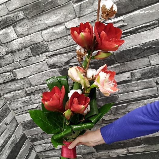 """Стильный мужской букет с амариллисом """"Чемпион"""": букеты цветов на заказ Flowwow"""