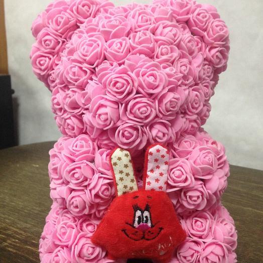 Валентинка Мишка из роз