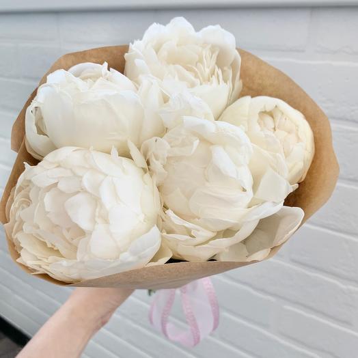 Букет пионов «Ванильное небо»: букеты цветов на заказ Flowwow