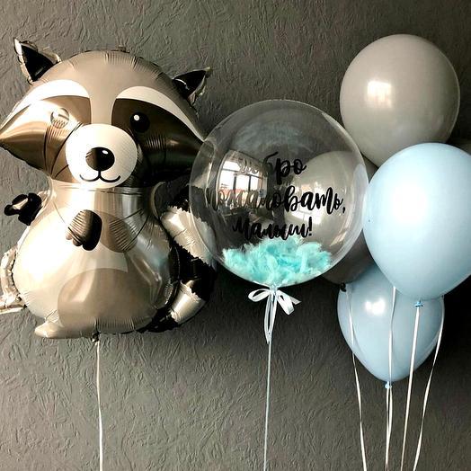 Набор шаров Счастливый енот+шар с надписью