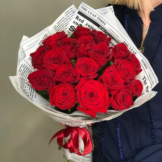 19 красных роз (АКЦИЯ!!! Ваза в подарок. Подробности читай в комментариях)