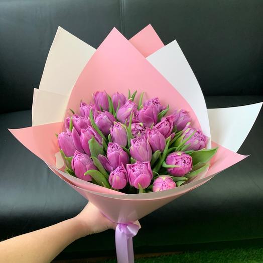 Букет из 23 пионовидных тюльпанов
