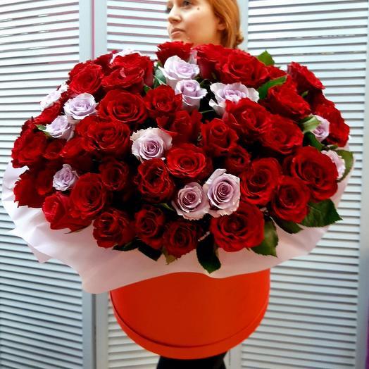 """Цветы в коробке """"Моей Королеве !!!"""""""